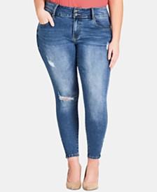 City Chic Trendy Plus Size Harley Zip Trim Jeans