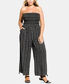 City Chic Trendy Plus Size Printed Strapless Jumpsuit