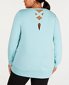 Ideology Plus Size Lattice-Back Top, Created for Macy's