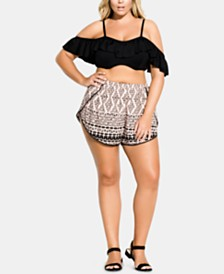 City Chic Trendy Plus Size Printed Shorts