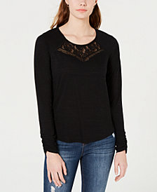 American Rag Juniors' Lace-Trim Cutout T-Shirt, Created for Macy's