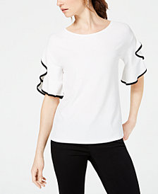 John Paul Richard Petite Piped Ruffle-Sleeve Top