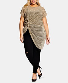 City Chic Trendy Plus Size Metallic Tie Top