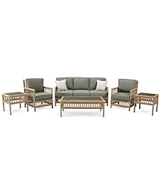 Lavena Outdoor 6-Pc. Seating Set (1 Sofa, 2 Club Chairs, 1 Coffee Table & 2 End Tables) with Sunbrella® Cushions, Created for Macy's