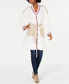 Tommy Hilfiger Mixed-Media Striped-Trim Cardigan, Created for Macy's