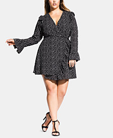 City Chic Trendy Plus Size Printed Ruffle Romper