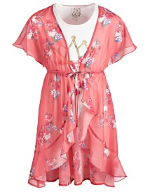 Belle Du Jour Big Girls 2-Pc. Floral-Print Kimono & Tank Top Set