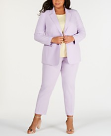 Bar III Plus Size One-Button Jacket, Bi-Stretch Pants & T-Shirt, Created for Macy's