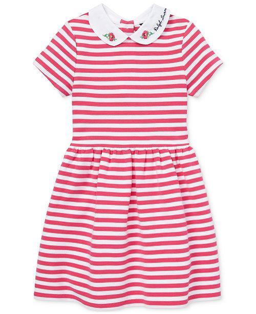 60e78308b Polo Ralph Lauren Toddler Girls Ponté-Knit Striped Fit & Flare Dress