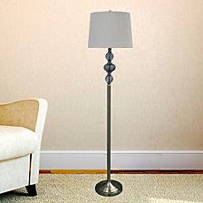"""Fangio Lighting's 1593 61.5"""" Brushed Steel Glass Floor Lamp"""