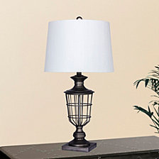 """Fangio Lighting's 1599 28"""" Antique Open Metal Cage Urn Table Lamp"""