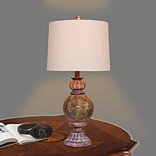 "1604 27"" Circle Weave Pedestal Urn Metal Table Lamp"