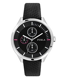 Women's Metropolis Black Dial Calfskin Leather Watch