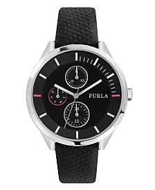 Furla Women's Metropolis Black Dial Calfskin Leather Watch