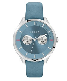 Furla Women's Metropolis Light Blue Dial Calfskin Leather Watch