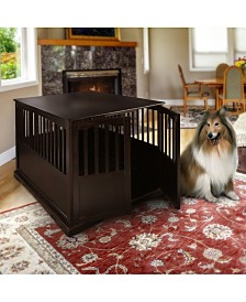 Wooden Extra Large Pet Crate Espresso End Table