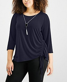 Plus Size Ruched Necklace Top
