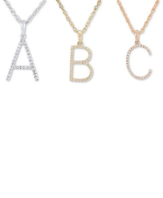 Diamond (1/10 ct. t.w.) Initial Pendant Necklace in 10k Rose Gold, 16