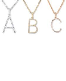 "Diamond (1/10 ct. t.w.) Initial Pendant Necklace, 16"" + 2"" Extender"