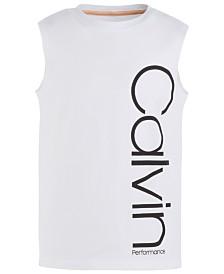 Calvin Klein Performance Big Girls Logo-Print Cotton Tank Top
