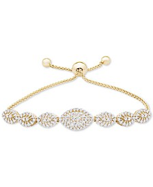 Diamond (1-1/2 ct. t.w.) Bolo Bracelet in 14k Gold, Created for Macy's