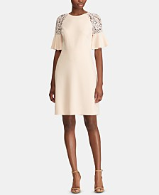 Lauren Ralph Lauren Petite Lace-Shoulder Crepe Dress