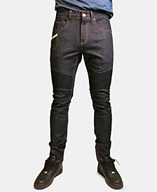 Heritage America Men's Raw Denim Moto Jeans