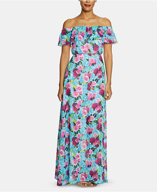 Betsey Johnson Off-The-Shoulder Floral Maxi Dress