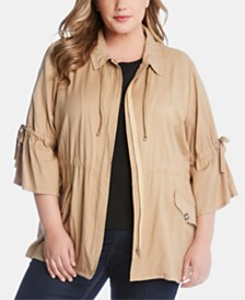 Karen Kane Plus Size Tie-Sleeve Cargo Jacket