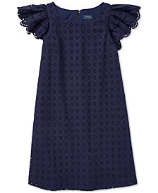 Polo Ralph Lauren Big Girls Eyelet Woven Cotton Dress