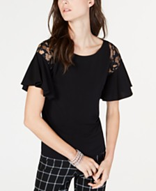 I.N.C. Short-Sleeve Lace-Detail Ruffle Shirt, Created for Macy's