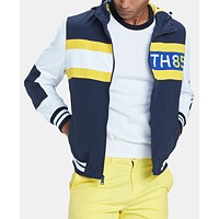 Macys deals on Tommy Hilfiger Mens Bayport Colorblocked Hooded Logo Windbreaker