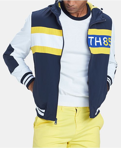 847c9437 ... Tommy Hilfiger Men's Bayport Colorblocked Hooded Logo Windbreaker ...
