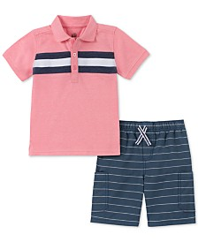 Kids Headquarters Little Boys 2-Pc. Striped Polo & Striped Shorts Set