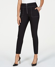 I.N.C. Petite Contrast-Stitch Skinny Pants, Created for Macy's