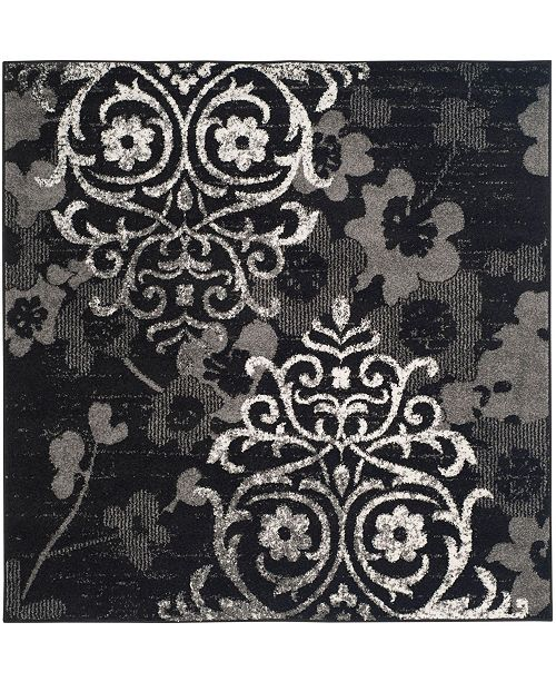 Safavieh Adirondack Black and Silver 6' x 6' Square Area Rug
