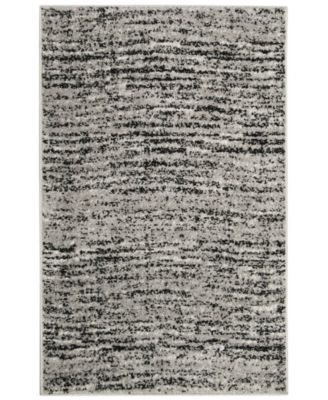 Adirondack Black and Silver 4' x 4' Square Area Rug