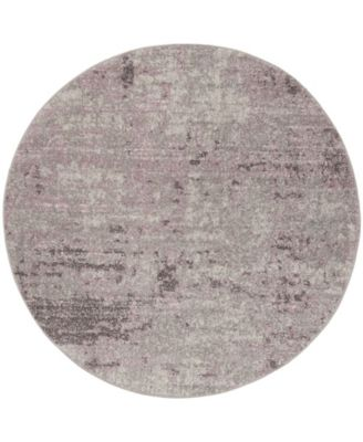 Adirondack Light Gray and Purple 6' x 6' Round Area Rug