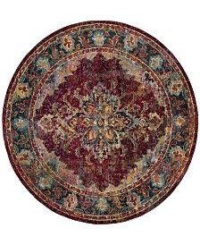 Safavieh Crystal Ruby and Navy 7' x 7' Round Area Rug