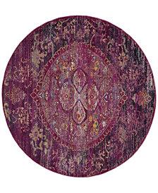 Safavieh Crystal Fuchsia and Purple 7' x 7' Round Area Rug