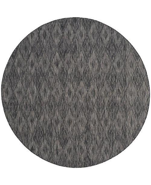 """Safavieh Courtyard Black 6'7"""" x 6'7"""" Round Area Rug"""