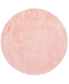 Safavieh Faux Sheep Skin Pink 4' X 4' Round Area Rug