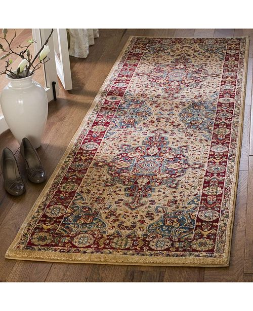 """Safavieh Kashan Ivory and Red 2'6"""" x 8' Runner Area Rug"""