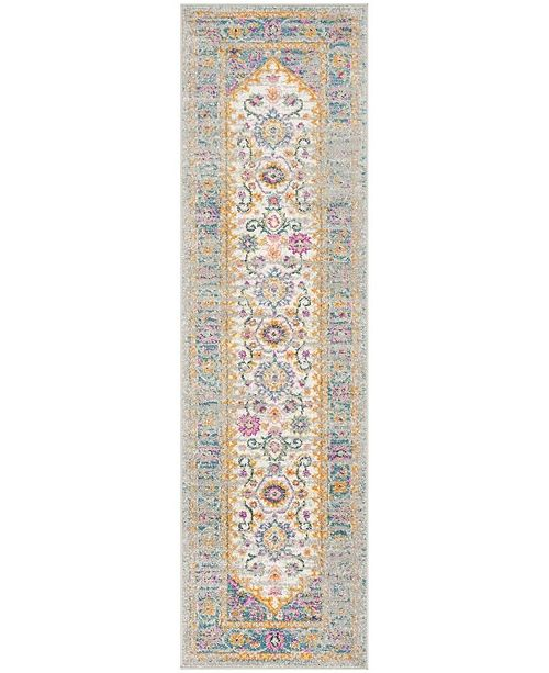 "Safavieh Madison Light Grey and Fuchsia 2'3"" x 8' Runner Area Rug"