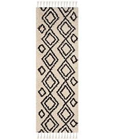 "Safavieh Moroccan Fringe Shag Cream and Charcoal 2'3"" X 7' Area Rug"