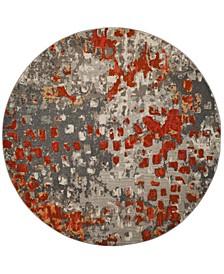 """Monaco Gray and Orange 6'7"""" x 6'7"""" Round Area Rug"""