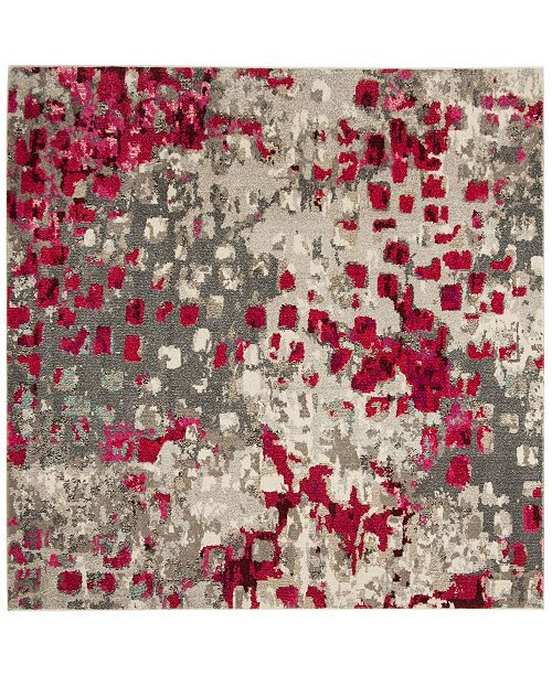 "Safavieh Monaco Gray and Fuchsia 6'7"" x 6'7"" Square Area Rug"
