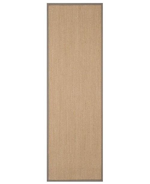 "Safavieh Natural Fiber Maize and Grey 2'6"" x 8' Sisal Weave Runner Area Rug"