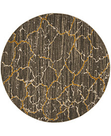 "Safavieh Porcello Dark Gray and Yellow 6'7"" x 6'7"" Round Area Rug"