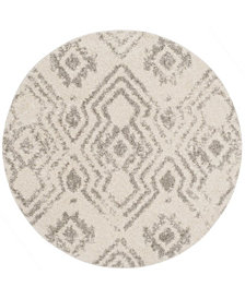 "Safavieh Arizona Shag Ivory and Gray 6'7"" x 6'7"" Sisal Weave Round Area Rug"